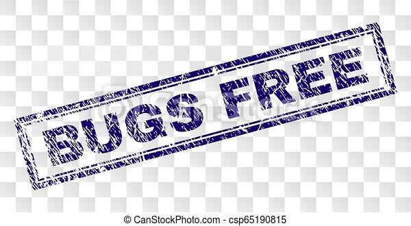 Grunge BUGS FREE Rectangle Stamp - csp65190815