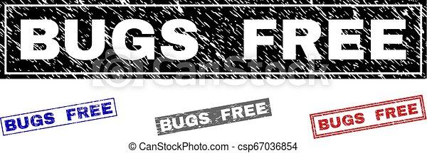 Grunge BUGS FREE Textured Rectangle Stamp Seals - csp67036854