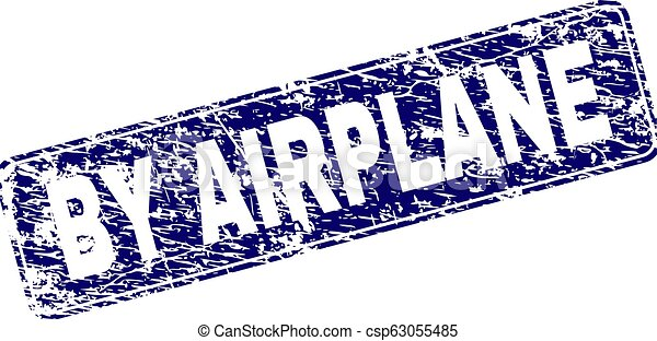 Grunge BY AIRPLANE Framed Rounded Rectangle Stamp - csp63055485