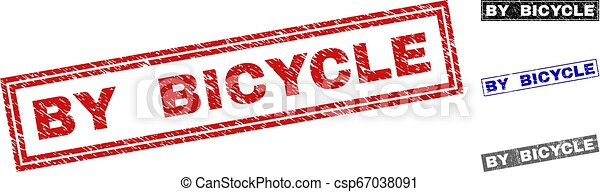 Grunge BY BICYCLE Scratched Rectangle Stamp Seals - csp67038091