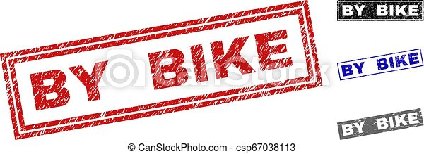 Grunge BY BIKE Textured Rectangle Stamp Seals - csp67038113