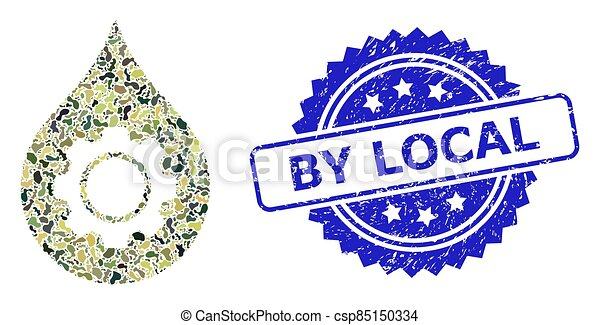 Grunge By Local Stamp Seal and Military Camouflage Composition of Oil Industry Gear - csp85150334