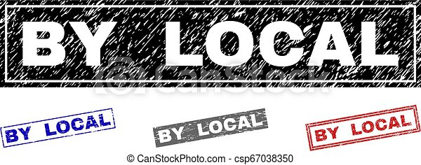 Grunge BY LOCAL Textured Rectangle Stamps - csp67038350