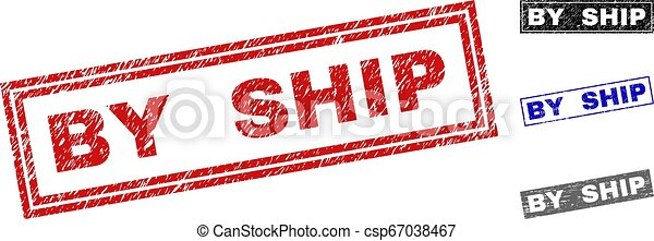Grunge BY SHIP Scratched Rectangle Stamps - csp67038467