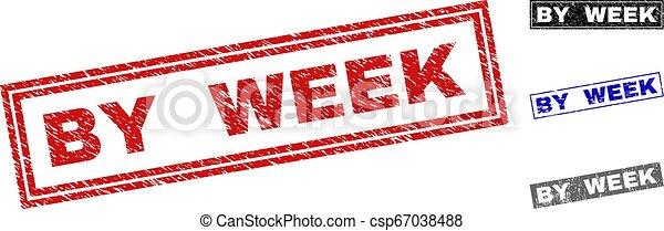 Grunge BY WEEK Textured Rectangle Stamp Seals - csp67038488