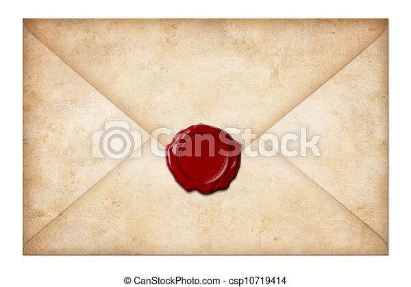 grunge, cachet, enveloppe, isolé, lettre, cire, courrier, blanc, ou - csp10719414