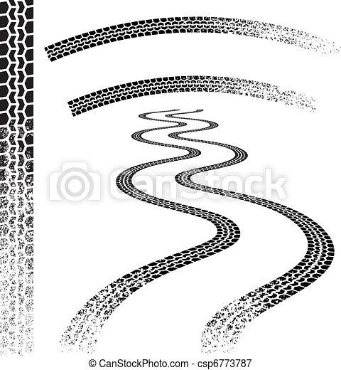 Grunge car Tire tracks - csp6773787
