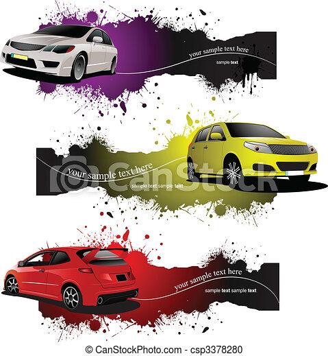 Drei grunge Banner mit Autos. Vector Illustration - csp3378280