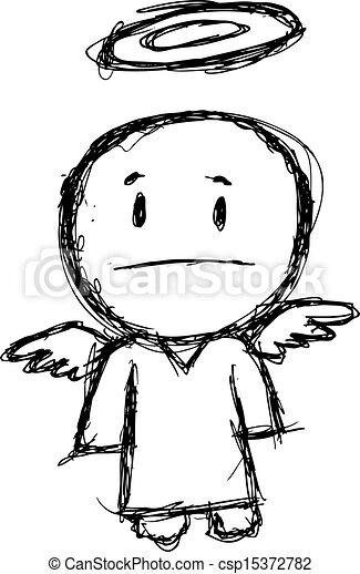 grunge cartoon angel - csp15372782