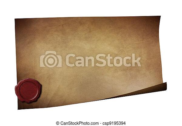 grunge, cera, aislado, papel, sello, blanco - csp9195394