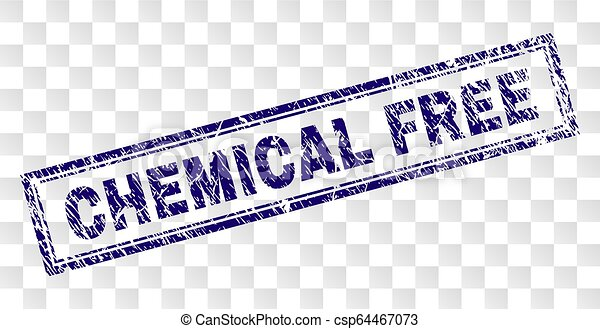 Grunge CHEMICAL FREE Rectangle Stamp - csp64467073