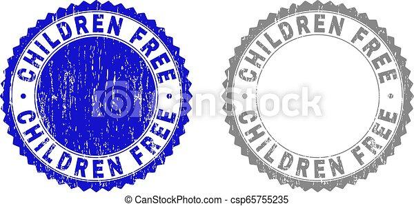 Grunge CHILDREN FREE Textured Watermarks - csp65755235