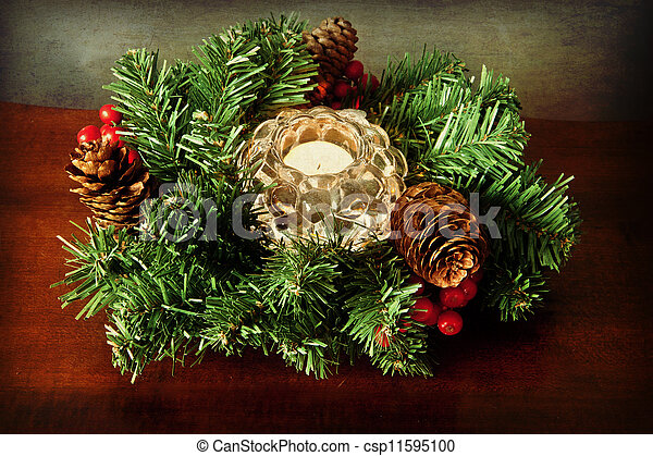 Small Christmas Wreaths.Grunge Christmas Wreath With Candle