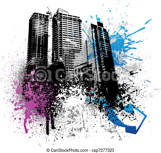 grunge, città, disegno - csp7277323