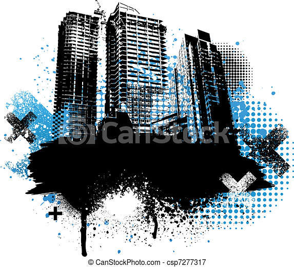 Grunge city design - csp7277317