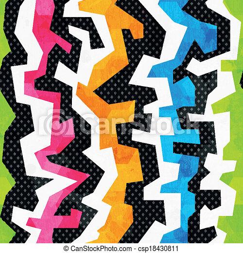 grunge, clair, graffiti, seamless, modèle - csp18430811