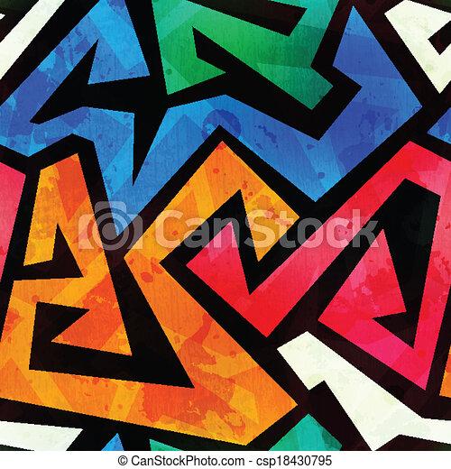 grunge colored graffiti seamless texture - csp18430795