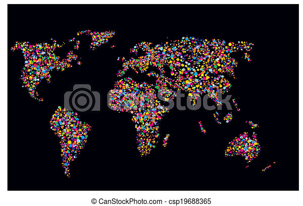 Grunge colourful collage of world map on black background clip grunge colourful collage of world map on black background csp19688365 gumiabroncs Gallery