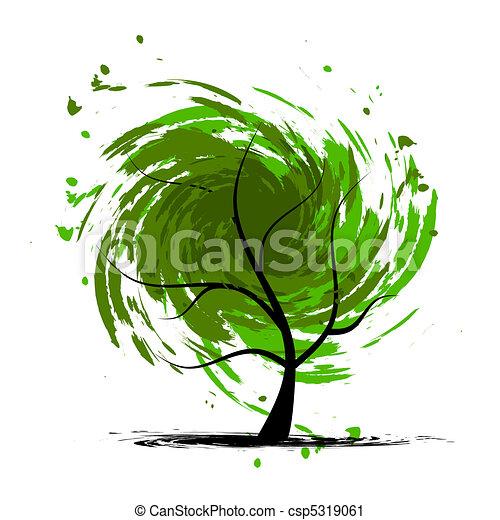 grunge, conception, arbre, ton - csp5319061