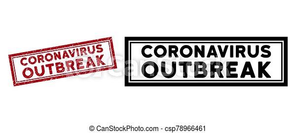 Grunge Coronavirus Outbreak Rectangle Frame Stamp - csp78966461