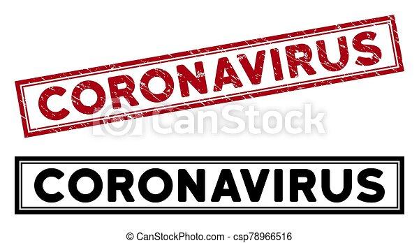 Grunge Coronavirus Rectangle Frame Stamp - csp78966516