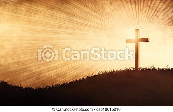 grunge, croix, colline - csp18015016