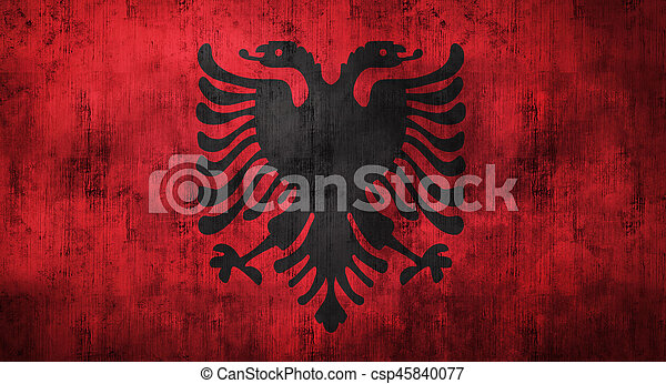Grunge Crumpled Albania Flag D Rendering Grunge Crumpled - Albania flag