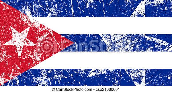 Awesome Grunge Cuban Flag. Artwork Vector Illustration.