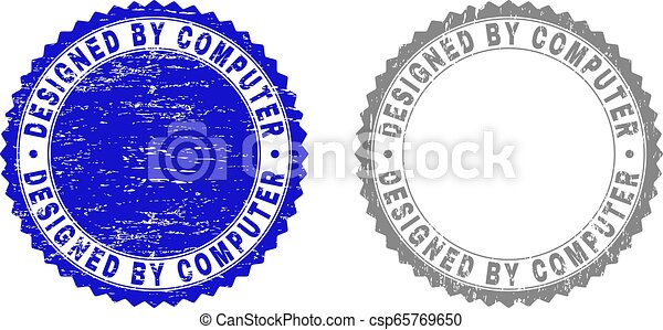 Grunge DESIGNED BY COMPUTER Textured Stamps - csp65769650