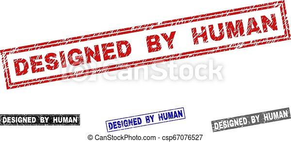 Grunge DESIGNED BY HUMAN Textured Rectangle Stamp Seals - csp67076527