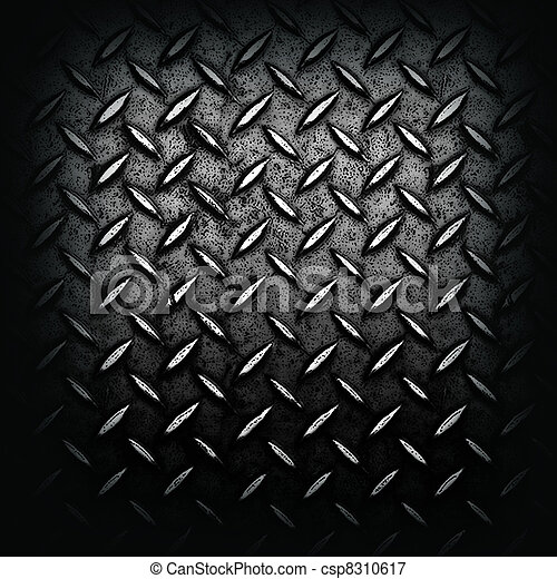 grunge, diamant, noir, plaqué métal - csp8310617