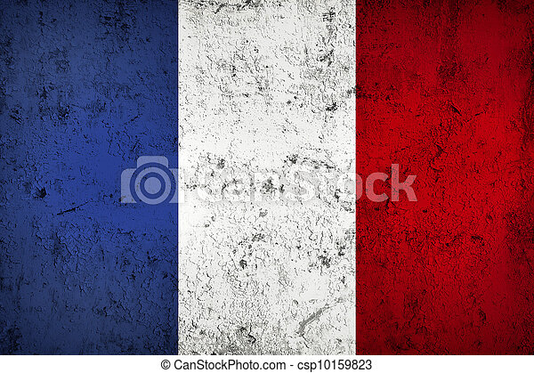 Grunge Dirty and Weathered French Flag - csp10159823