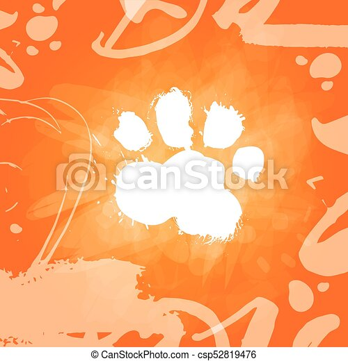grunge dog food print over orange background zodiac symbol of 2018 new year csp52819476