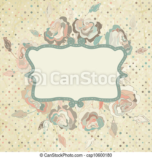 Grunge dots background with roses. EPS 8 - csp10600180