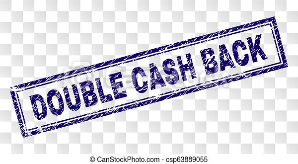 Grunge DOUBLE CASH BACK Rectangle Stamp - csp63889055