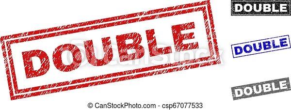 Grunge DOUBLE Textured Rectangle Stamp Seals - csp67077533