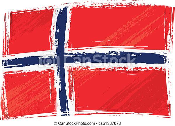 grunge, drapeau, norvège - csp1387873