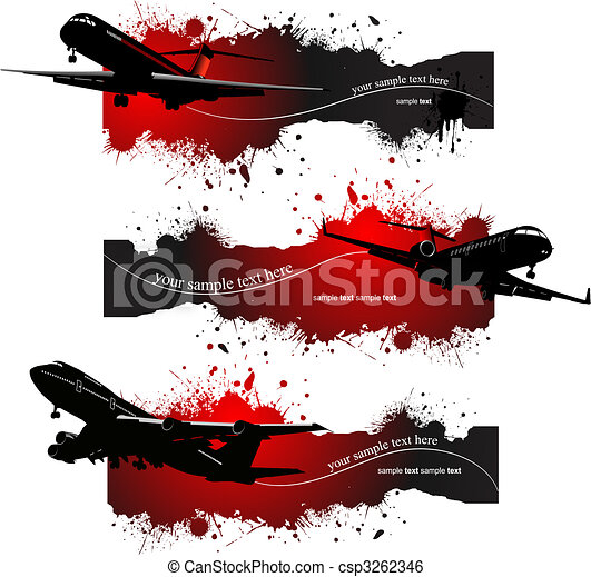 grunge, drei, abbildung, flight., vektor, banner, motorflugzeug - csp3262346