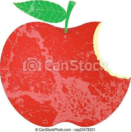 Grunge Eaten Apple Shape - csp23478331