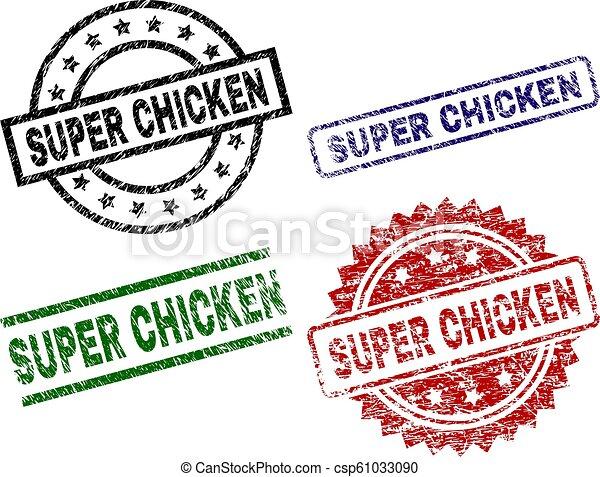 El grunge texturó sellos de sellos del SUPER CHICKEN - csp61033090
