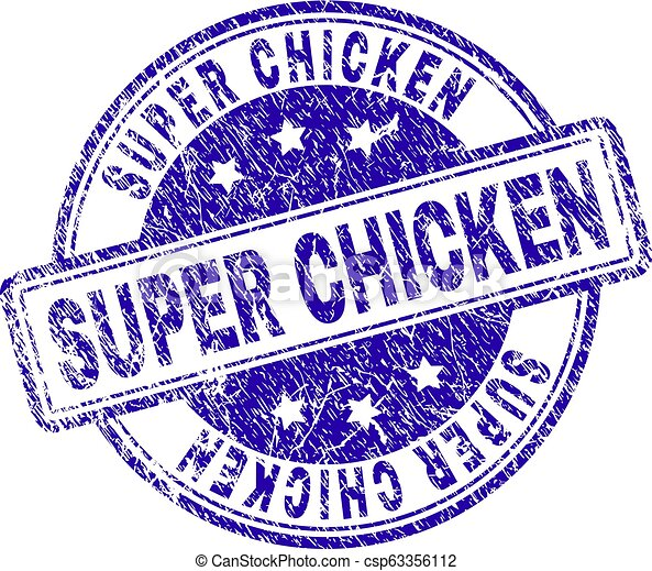El grunge textured SUPER CHICKEN sello sello de sello - csp63356112