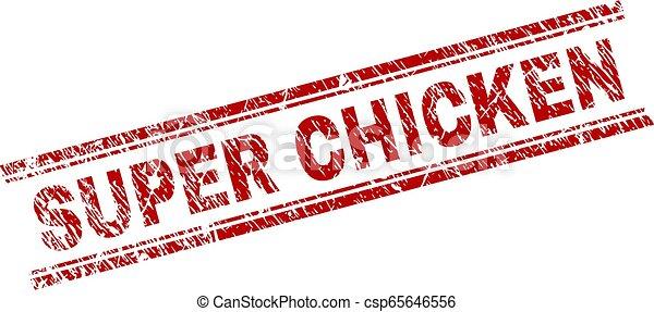 El grunge textured SUPER CHICKEN sello sello de sello - csp65646556