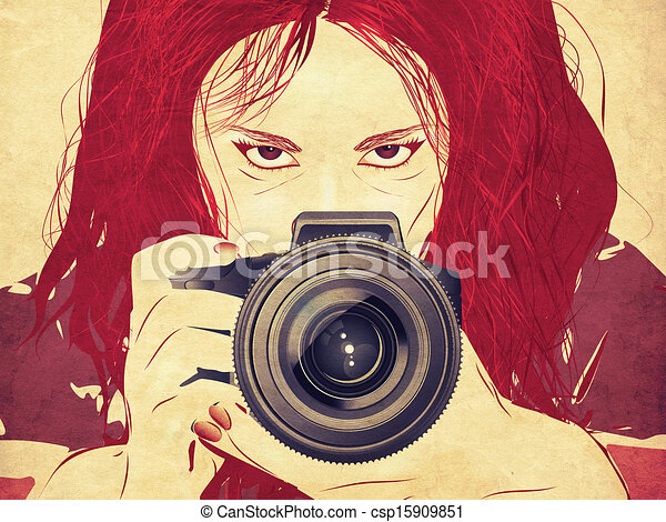 Grunge Camera Vector : Grunge female photographer female photographer taking stock