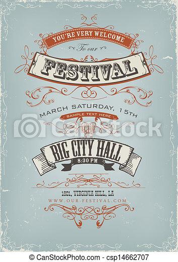 Grunge Festival Invitation Poster - csp14662707
