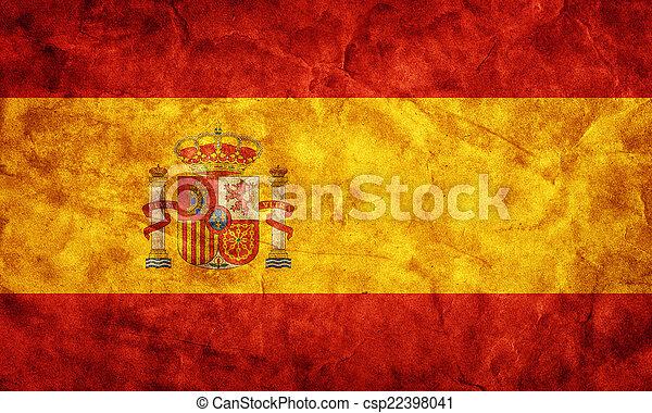 La bandera grunge española. Un objeto de mi colección de banderas retro - csp22398041
