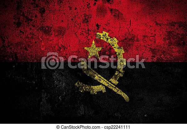 grunge flag of Angola with capital in Luanda - csp22241111