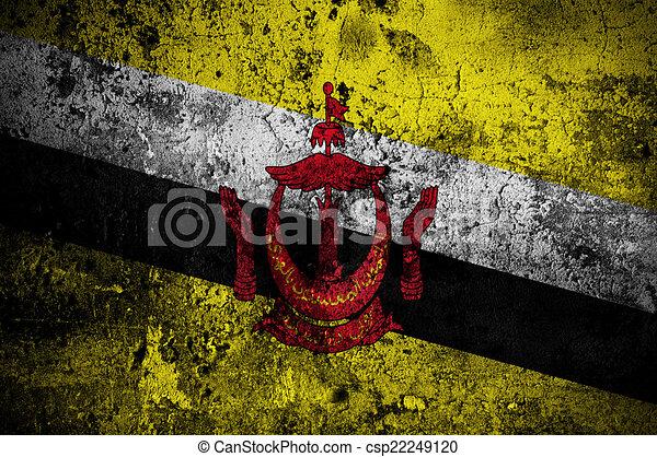 grunge flag of Brunei with capital in Bandar Seri Begawan