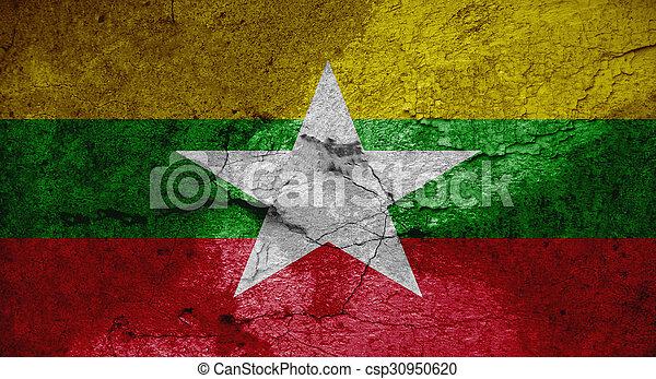 Grunge flag of Burma - csp30950620