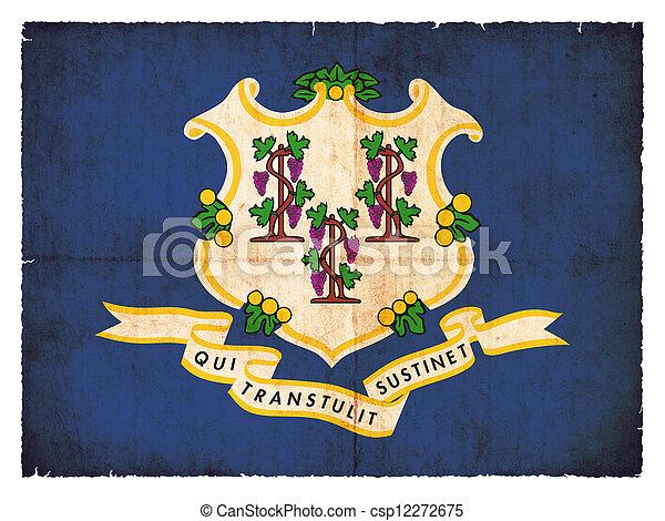 Grunge flag of Connecticut (USA) - csp12272675