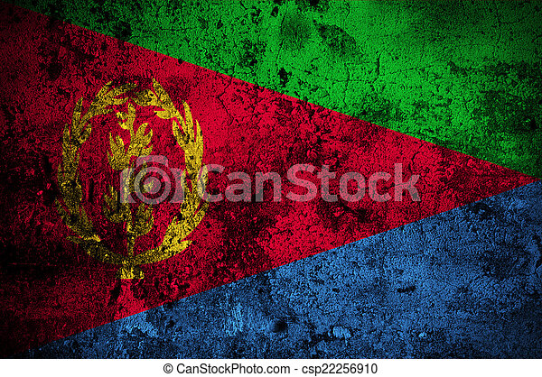 grunge flag of Eritrea with capital in Asmara - csp22256910